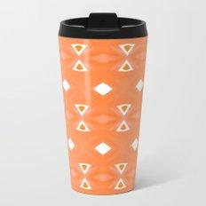 Geo Triangle Orange 3 Metal Travel Mug
