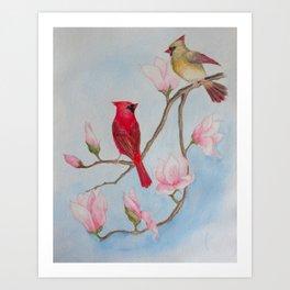 Cardinal Pair with Magnolias - Watercolor Painting Art Print