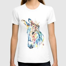 Donkey Colorful Watercolor Painting by Lisa Whitehouse T-shirt