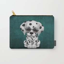 Dalmatian Puppy Wearing Reading Glasses on Blue Carry-All Pouch