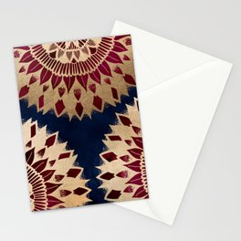 Bohemian Gold Navy Burgundy Hand Drawn Mandala Stationery Cards