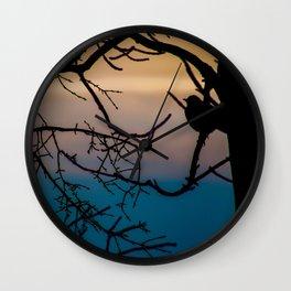 Robin at Sunset Wall Clock