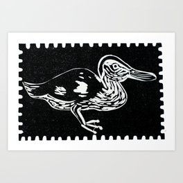 Duck in the dark Art Print