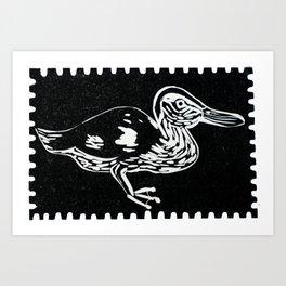 Duck in the dark Art Print