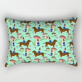 Gnome & Dachshund in Mushroom Land, Teal Background Rectangular Pillow
