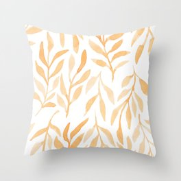 Golden Leaves // Simple Modern Watercolors Throw Pillow