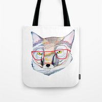 mr fox Tote Bags featuring Mr Fox by Ashley Percival illustration