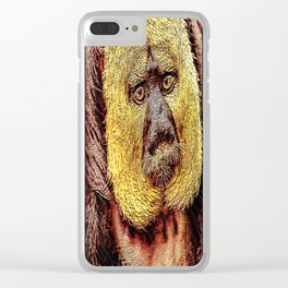 Primate Models: White-faced Saki monkey 01 Clear iPhone Case