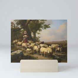 Eugene Verboeckhoven, A Shepherdess with her Flock Mini Art Print