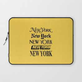 New York City Yellow Taxi and Black Typography Poster NYC Laptop Sleeve
