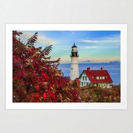 Portland Maine Lighthouse in Maine - Cape Elizabeth Art Print