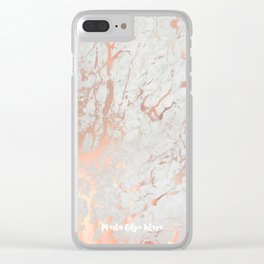 Rose gold marble Clear iPhone Case