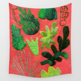 tropical leaves embroidered pattern Wall Tapestry