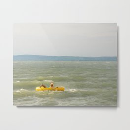 Lake Fun with Inflatable Toys Metal Print