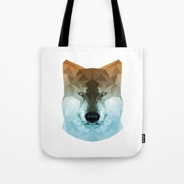 Wolf   Orange and teal polygon wolf Tote Bag