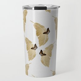 Butterfly & Palm Leaf, Gold Wall Art Travel Mug