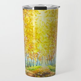 Autumn theme Painting oil - alley of autumn trees  - modern art impressionism abstract landscape art Travel Mug