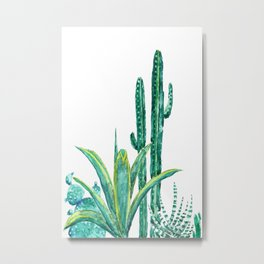 cactus jungle watercolor painting 2 Metal Print