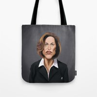 wes anderson Tote Bags featuring Celebrity Sunday ~ Gillian Anderson by rob art | illustration