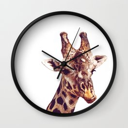 Happy Giraffe White Wall Clock