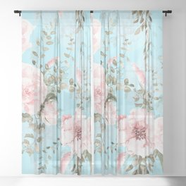 Blush Watercolor Spring Florals On Teal Sheer Curtain