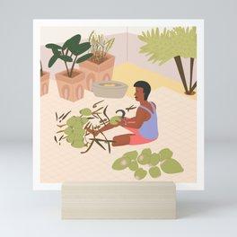 Village coconut vendor Mini Art Print