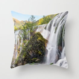Pearl Shoal Waterfall Jiuzhaigou Aba Sichuan China Ultra HD Throw Pillow
