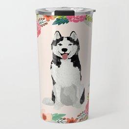 husky floral wreath spring dog breed pet portrait gifts Travel Mug