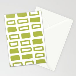 Mid Century Modern Abstract Squares Pattern 442 Green Stationery Cards
