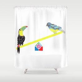 Birds on a seesaw Shower Curtain