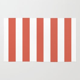 Jelly bean pink - solid color - white vertical lines pattern Rug