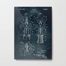 1928 - Cork extractor patent art Metal Print