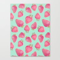 strawberry Canvas Prints featuring Strawberry  by Marta Olga Klara