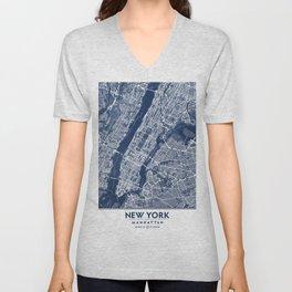 Classic Blue Manhattan Map, New York City Unisex V-Neck
