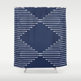 Geo / Navy Shower Curtain