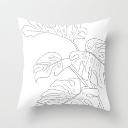 Line Art Monstera Leaves Throw Pillow