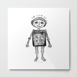 Little robot white and black drawing Metal Print