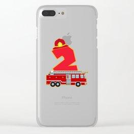 2nd Birthday Fireman Firefighter Fire Truck Gift Clear iPhone Case