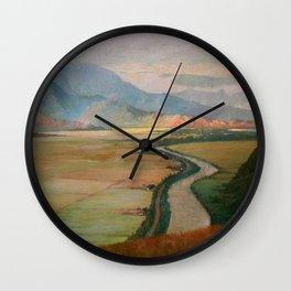 Hanalei Valley, Kauai, Hawaiian landscape painting by D. Howard Hitchcock Wall Clock