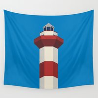 lighthouse Wall Tapestries featuring lighthouse by creaziz