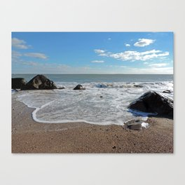 Waves coming in at the Westport Town Beach Canvas Print