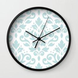 Scroll Damask Lg Pattern Duck Egg Blue on White Wall Clock