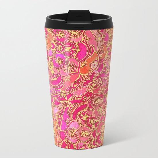 Hot Pink and Gold Baroque Floral Pattern Metal Travel Mug