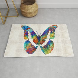 Colorful Butterfly Art by Sharon Cummings Rug