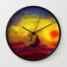 Sailboat and Red Sunset nautical landscape painting by Emil Nolde Wall Clock