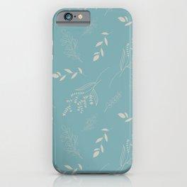 Elegant spring seamless pattern light leaves on blue background iPhone Case