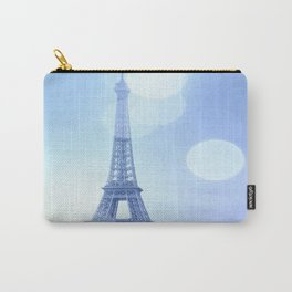 Paris Eiffel Tower Blue Carry-All Pouch