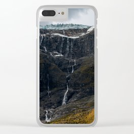 Icy Mountain Waterfall Landscape Clear iPhone Case