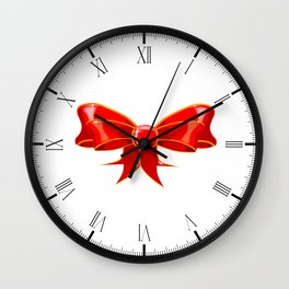 Isolated Red Ribbon Wall Clock