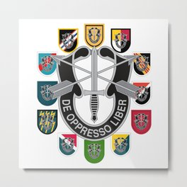 De Oppresso Liber Army Special Forces Group Beret Flashes Metal Print